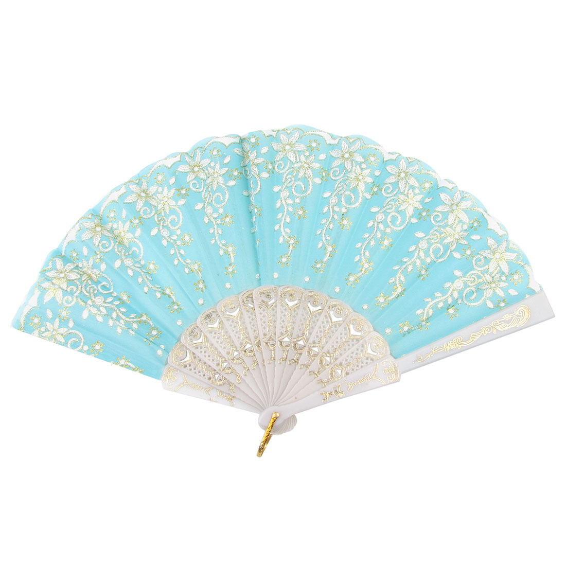 Portable Folding Hand Glitter Powder Decor Baby Blue Fabric Plastic Shelf Fan