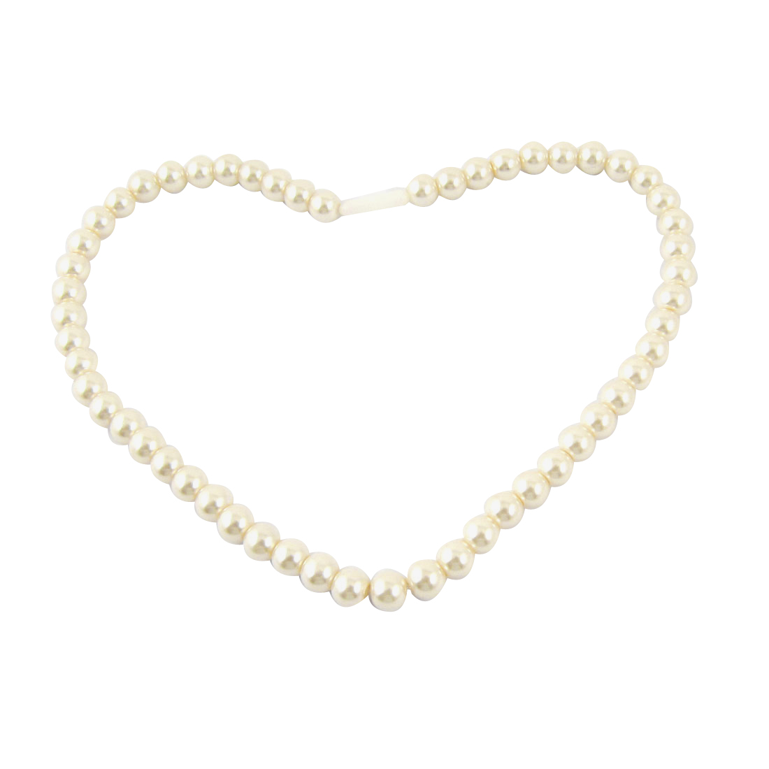 Women Jewelry White Faux Pearl Beads Detail Beaded Party Necklace Gift