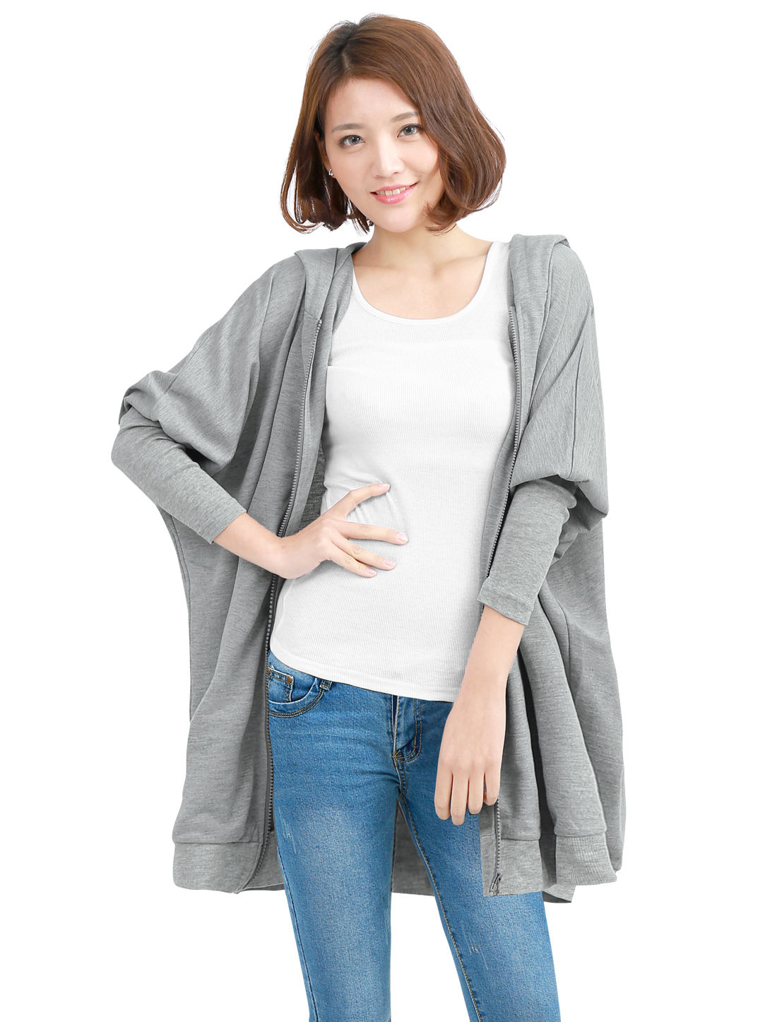 Women Zip-Up Front Closure Long Batwing Sleeve Light Gray Coat L