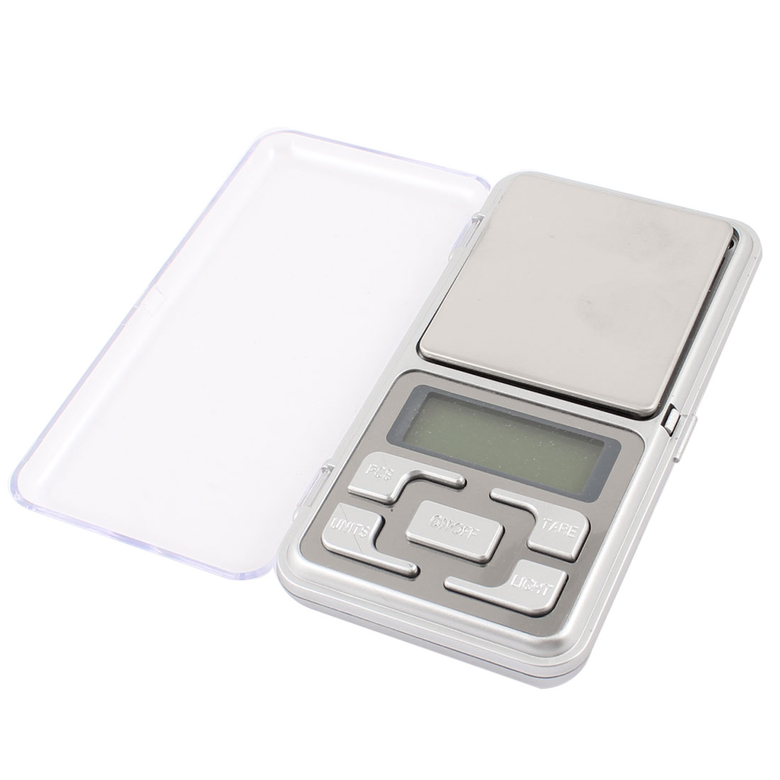 Clear Cover LCD Display 100g Capacity Digital Weight Pocket Scale Silver Tone