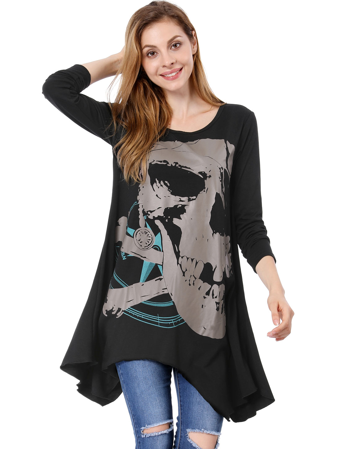 Lady Stylish Skull Printed Front Irregular Hem Black Top Shirt XL