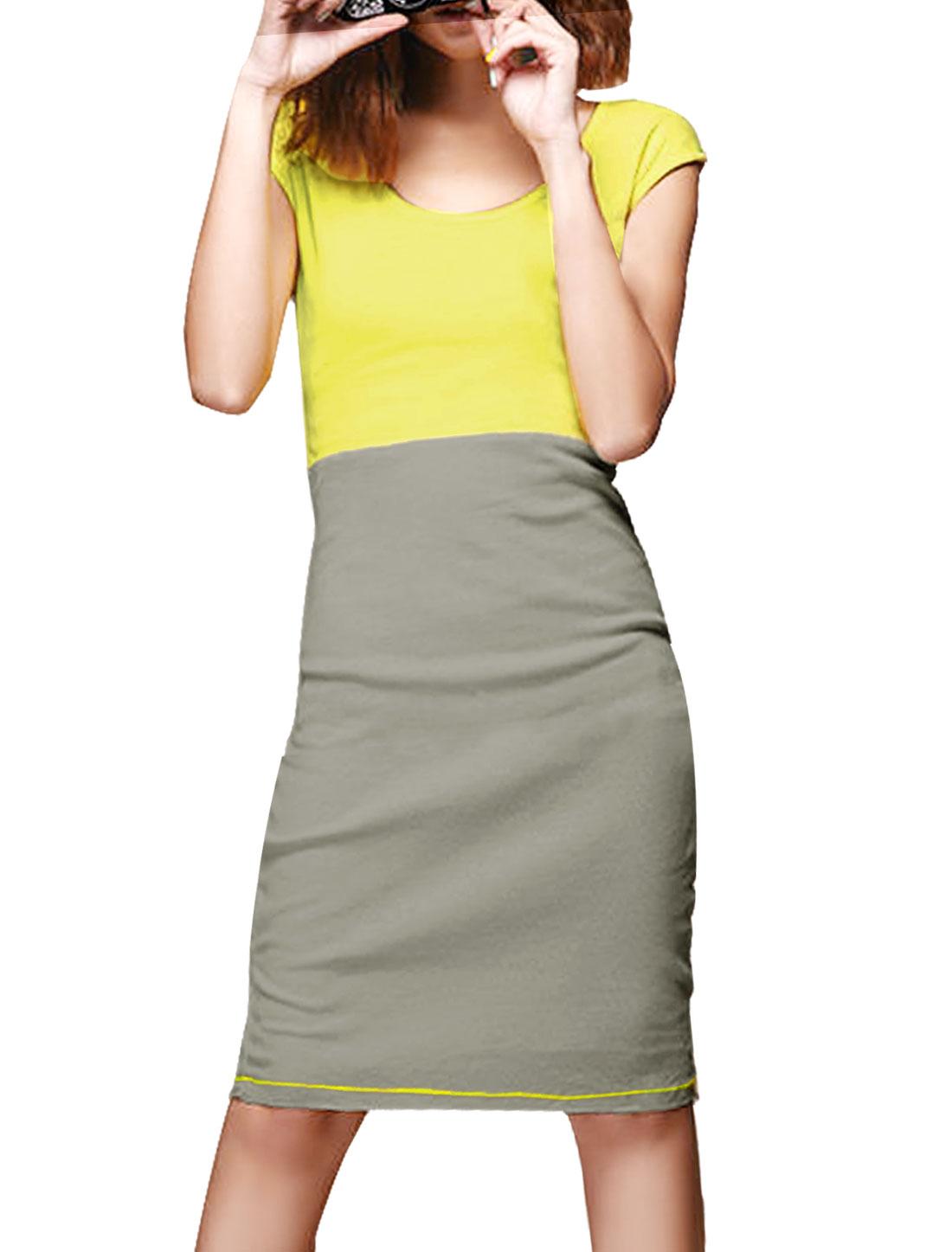 Woman Chic Scoop Neck Sleeveless Yellow Light Gray Dress S
