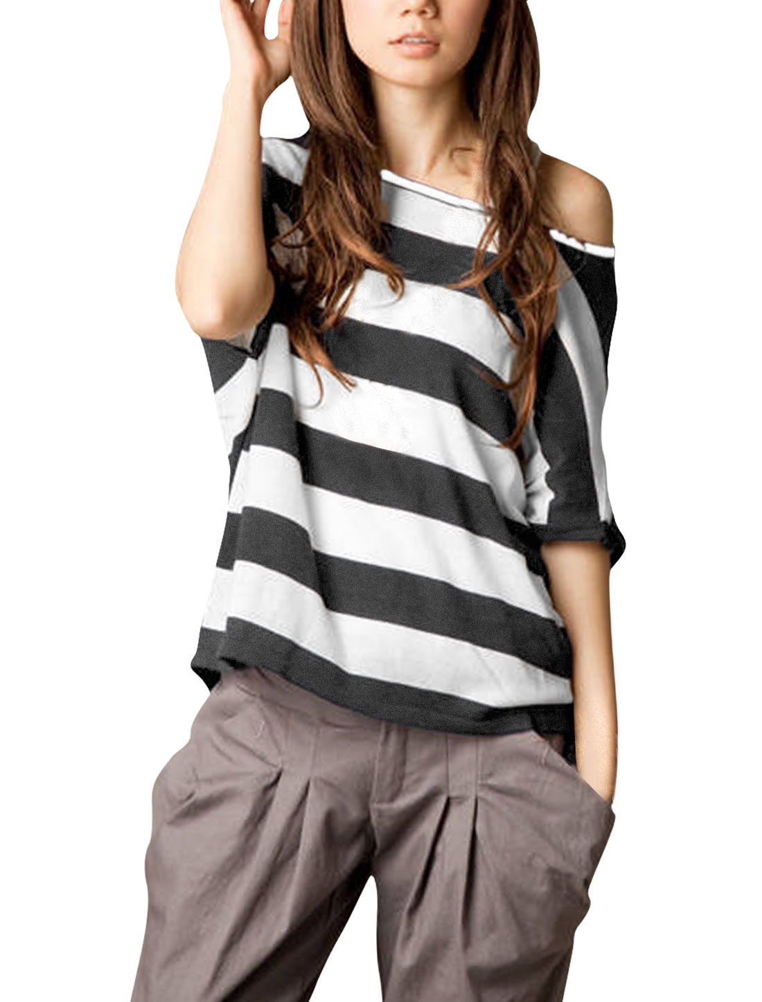 Woman Stylish Off-Shoulder Design Gray White Summer Top Shirt M