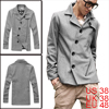 Men Button Up Long Sleeve Zippers Decor Overcoat Light Gray M