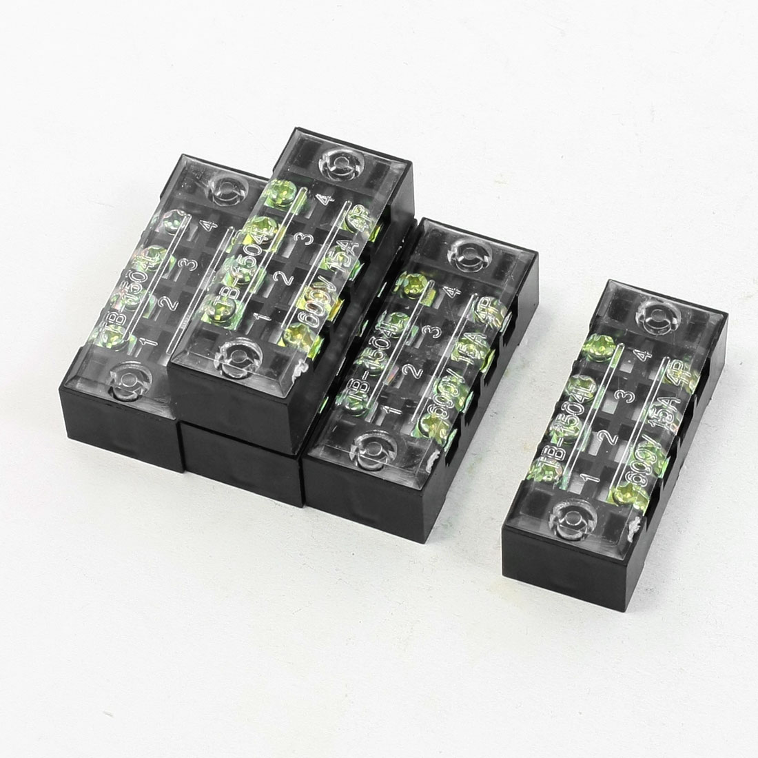 5 Pcs Dual Row 4 Positions Screw Terminal Barrier Block 600V 15A