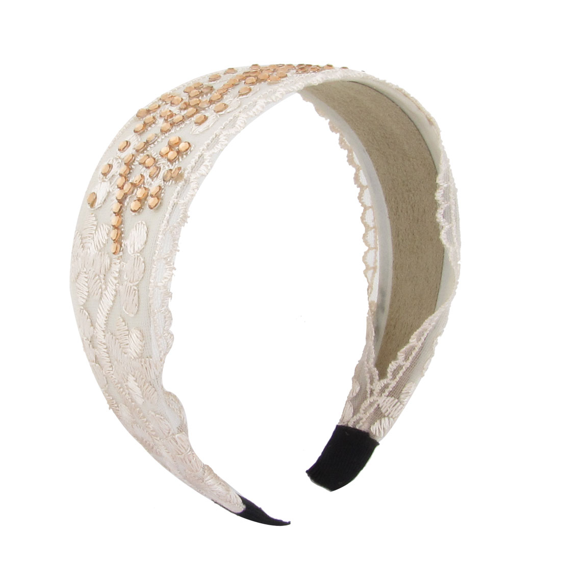 Women Lady Rhinestones Accent Beige Lace Nylon Covered Head Band Hair Hoop