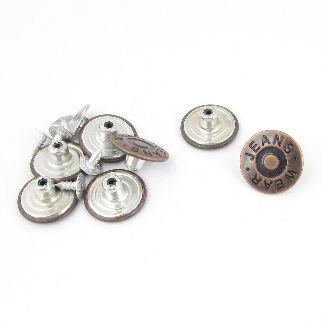 Repairing Parts Brown Metallic Carved Word Jeans Buttons 7 Pcs