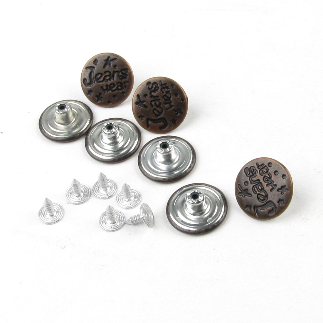 Repair Parts Brown Metal Carved Letters Jeans Buttons 7 Pcs