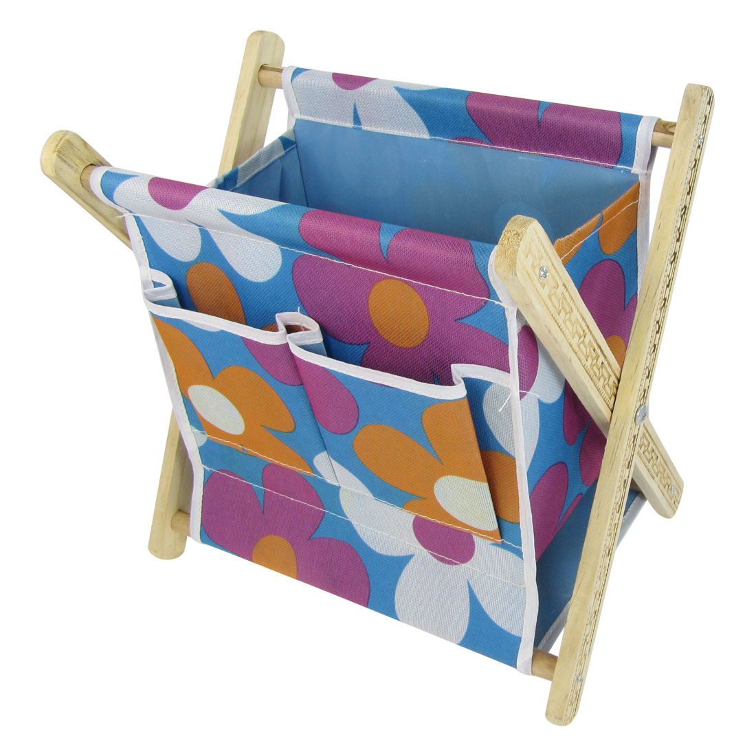 Flower Pattern Rectangular Wood Rack Storage Pouch Bag Basket Blue Purple