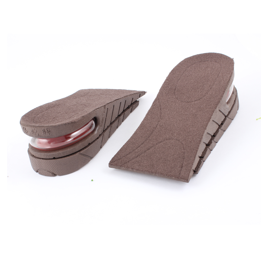 "Dark Brown Soft Rubber 2 Layers 1.8"" Up Taller Shoe Height Inserts Insoles Pair"