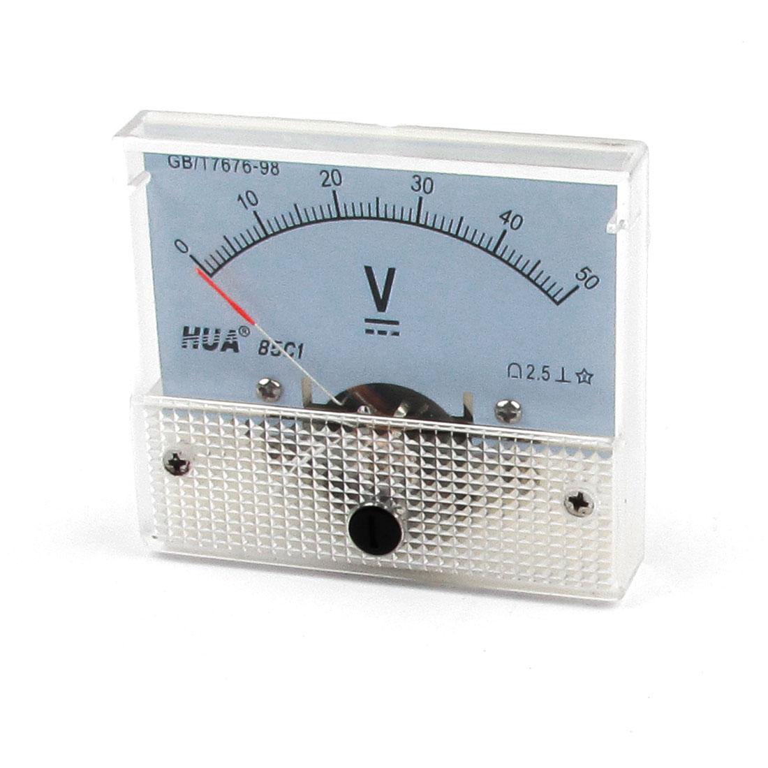 Screw Mounted Plastic Housing Voltage Testing DC 50V Volt Meter Gauge