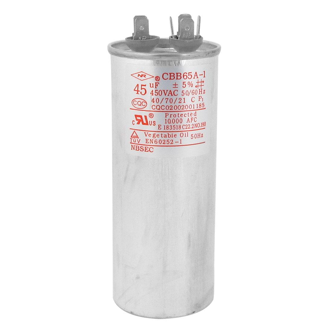 "CBB65A-1 45uF 450V AC 50/60Hz Motor Run Capacitor 5.4"" Long for Air Conditioner"