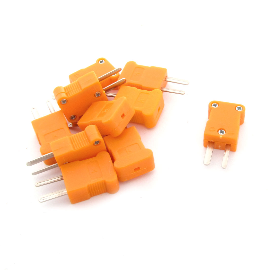 10 Pcs RTD Circuits Male K Type Thermocouple Plugs 35mm Long Orange