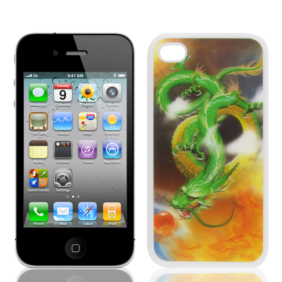 3D Green Dragon Printed White Hardshell Back Case Cover Guard for iPhone 4 4G