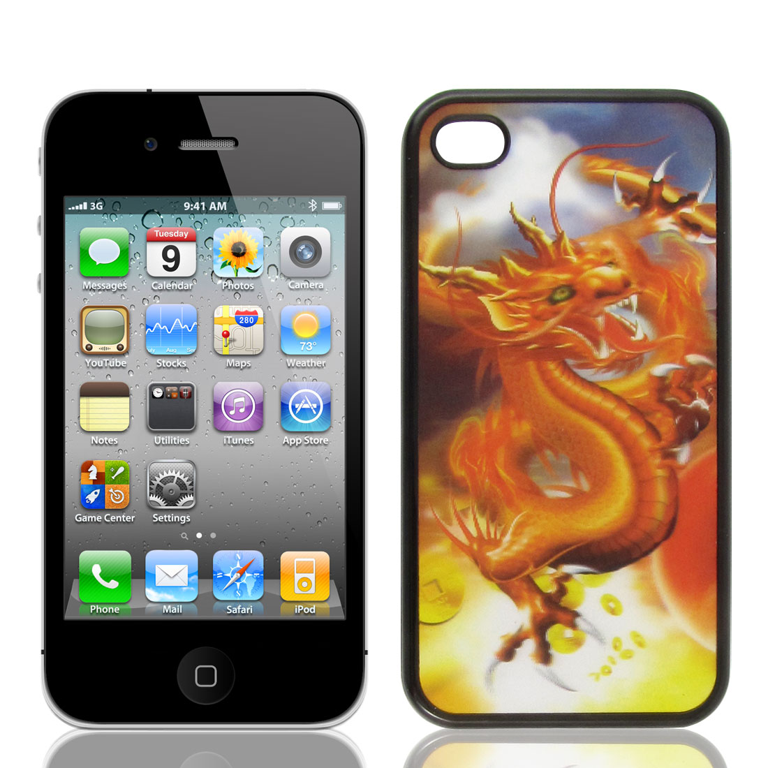 Protective 3D Brown Dragon Pattern Black Plastic Back Case for iPhone 4 4G