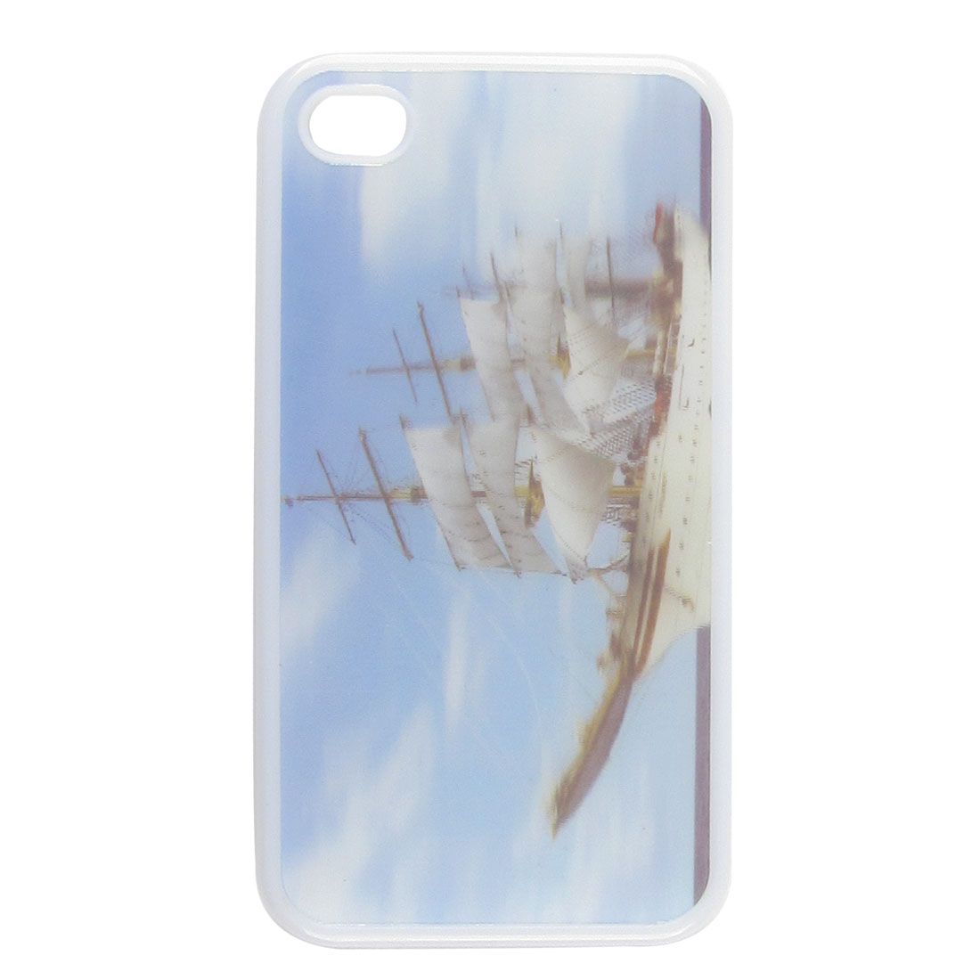 White Plastic 3D Sailing Vessel Print Protector Back Case for Apple iPhone 4 4G
