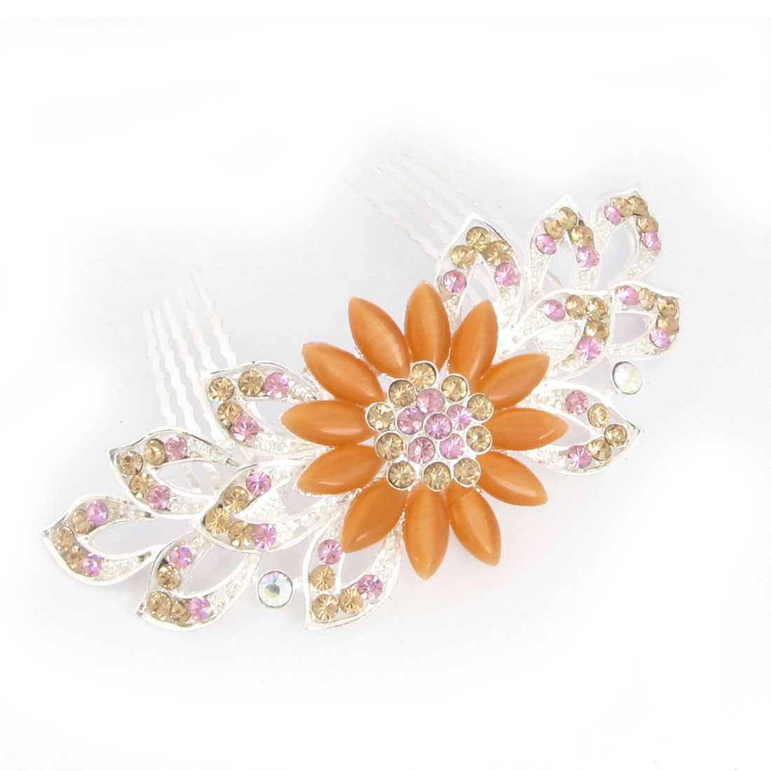 Ladies Rhinestone Peachpuff Plastic Flower 10 Teeth Metal Hair Comb Clip Clamp