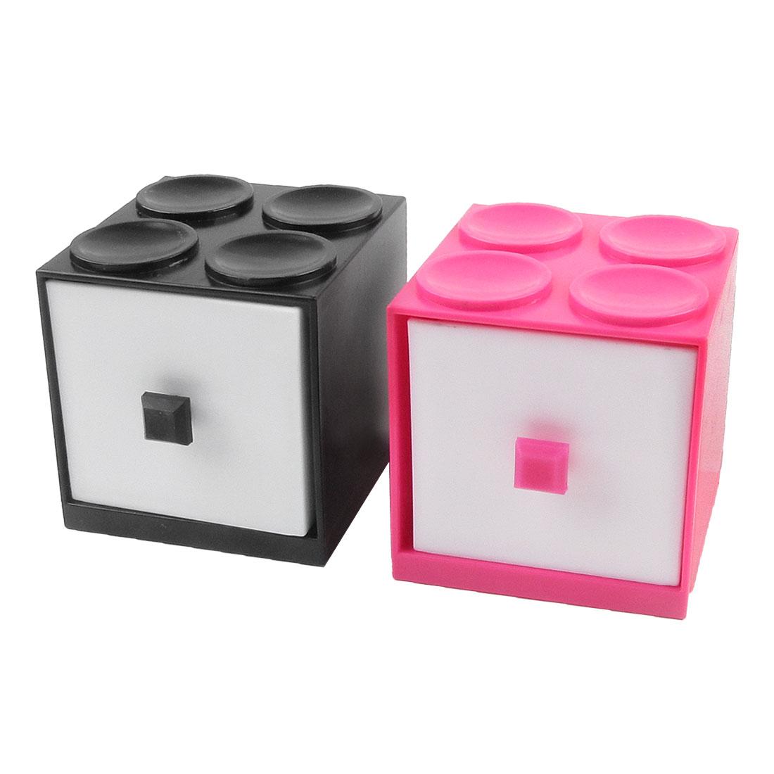 Plastic Block Model Fuchsia Black Case White Drawer Makeup Holder Container Box
