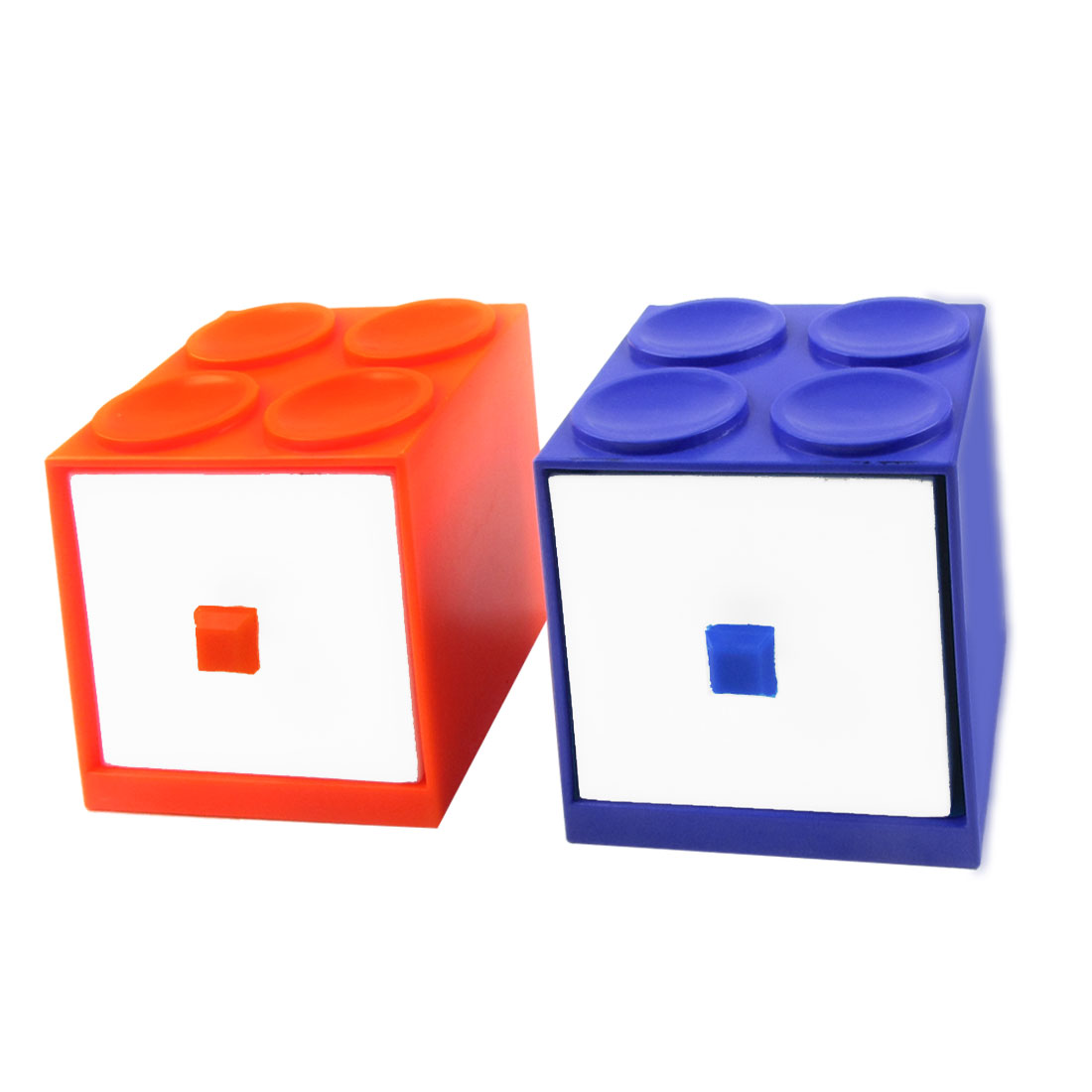 Blue Orange Plastic Case Drawer 2 Layer Jewelry Cosmetic Holder Container Box
