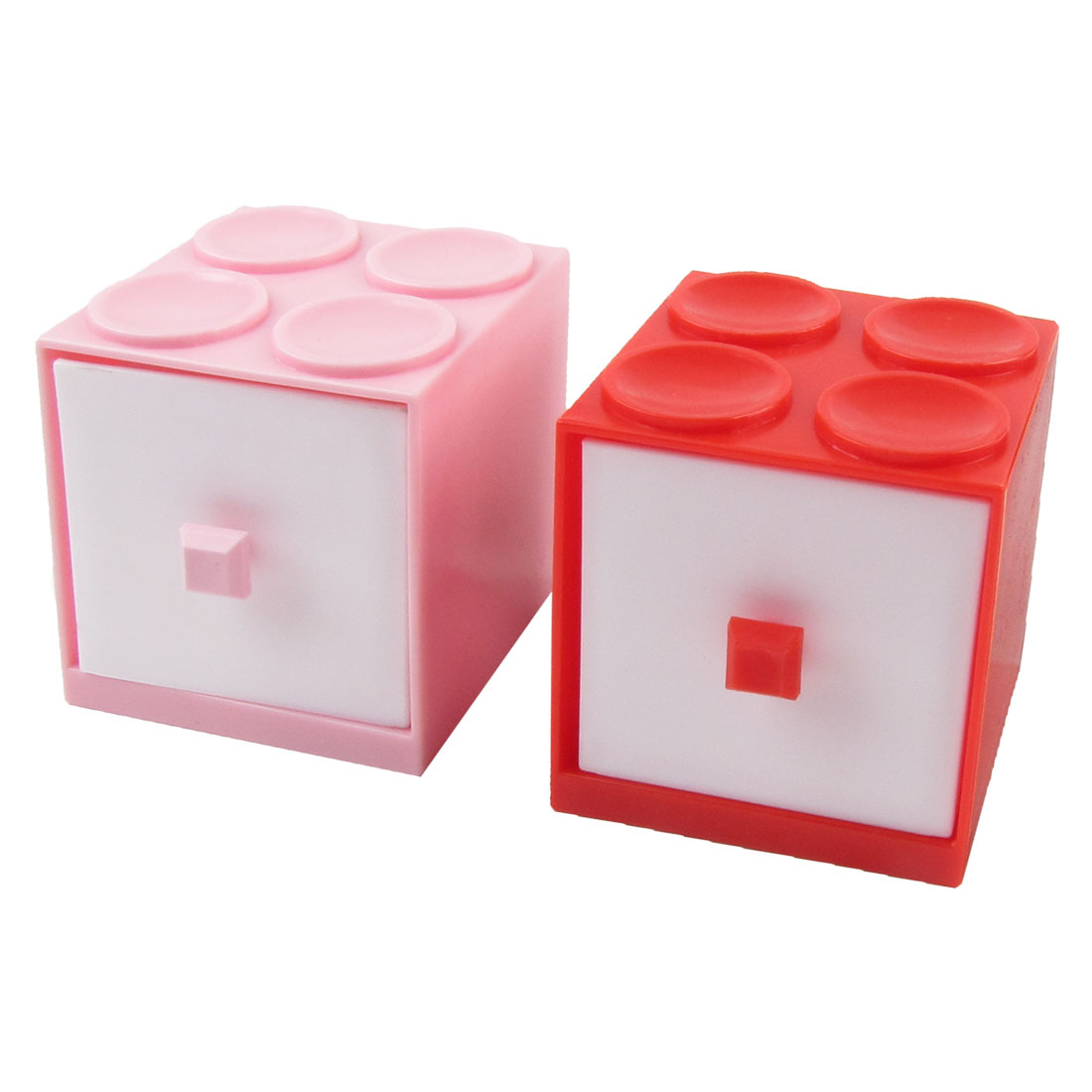 Hard Plastic Building Block 2 Layer Mini Drawer Cabinet Storage Holder Pink Red