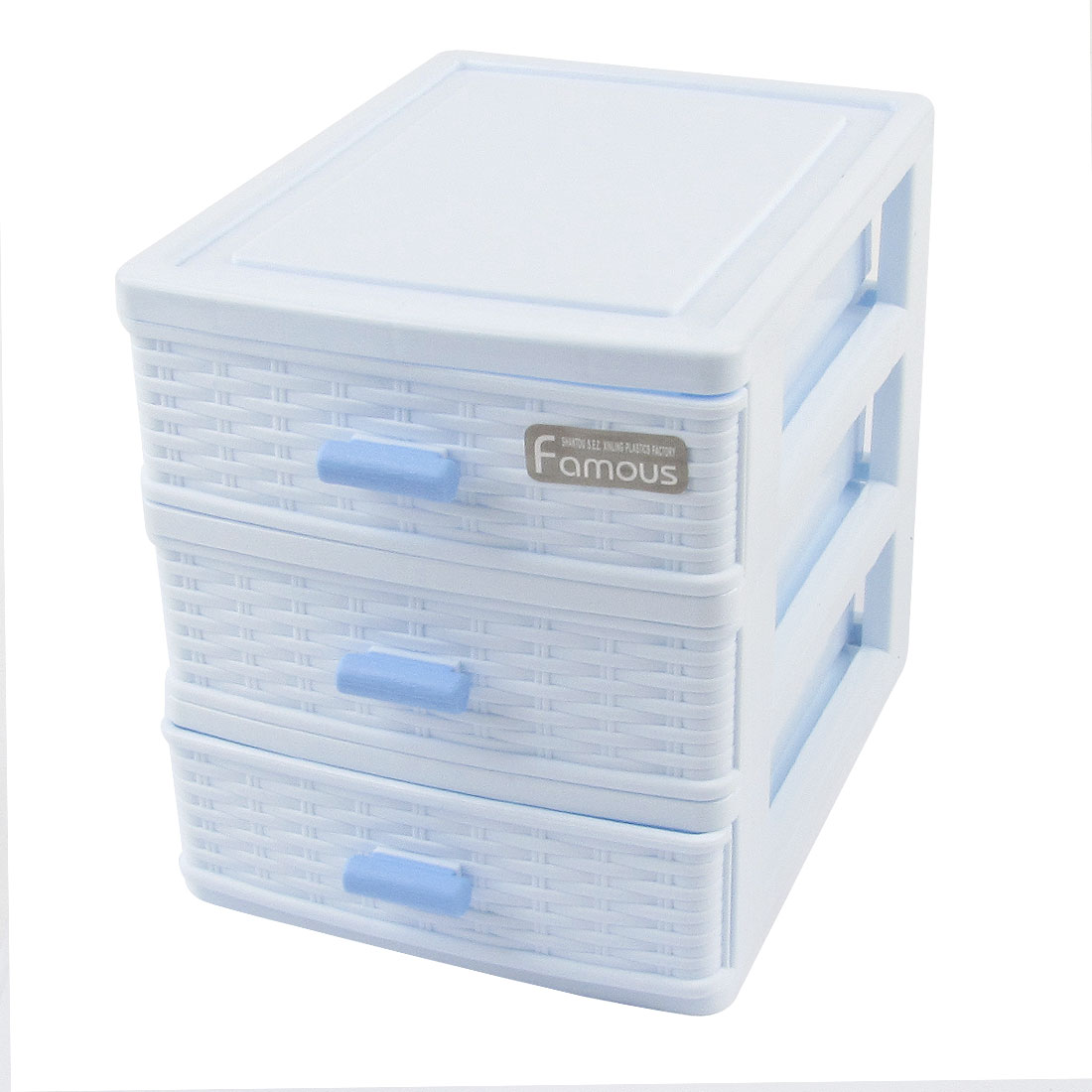 White Plastic 3 Compartments Cosmetics Lipstick Hairpin Storage Box Case Holder