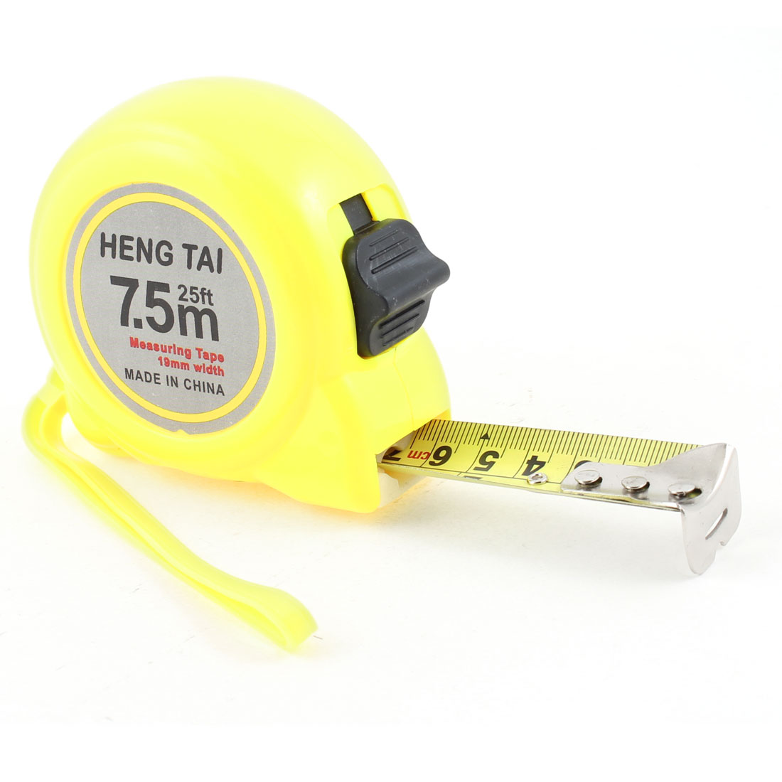 Manual Lock 7.5M 25Ft Flexible Measuring Tape Bandtape Yellow w Hand Strap