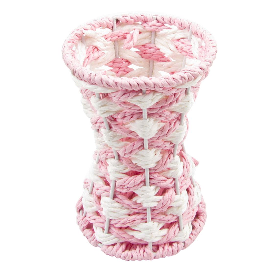 Pink White Office Desk Twisted Paper String Flower Basket Holder