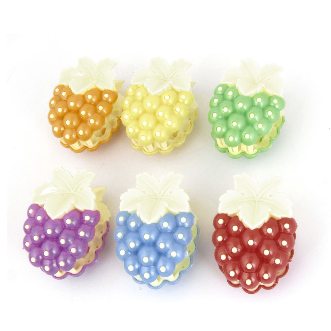 Woman Assorted Color Strawberry Designed Plastic Bath Clamp Hair Claw 6 Pcs