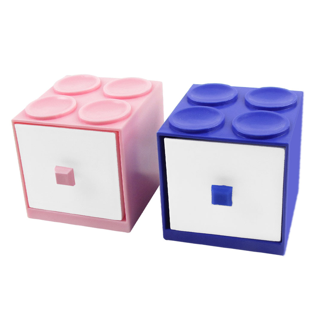Hard Plastic Building Block 2 Layers Drawer Cabinet Storage Holder Pink Blue