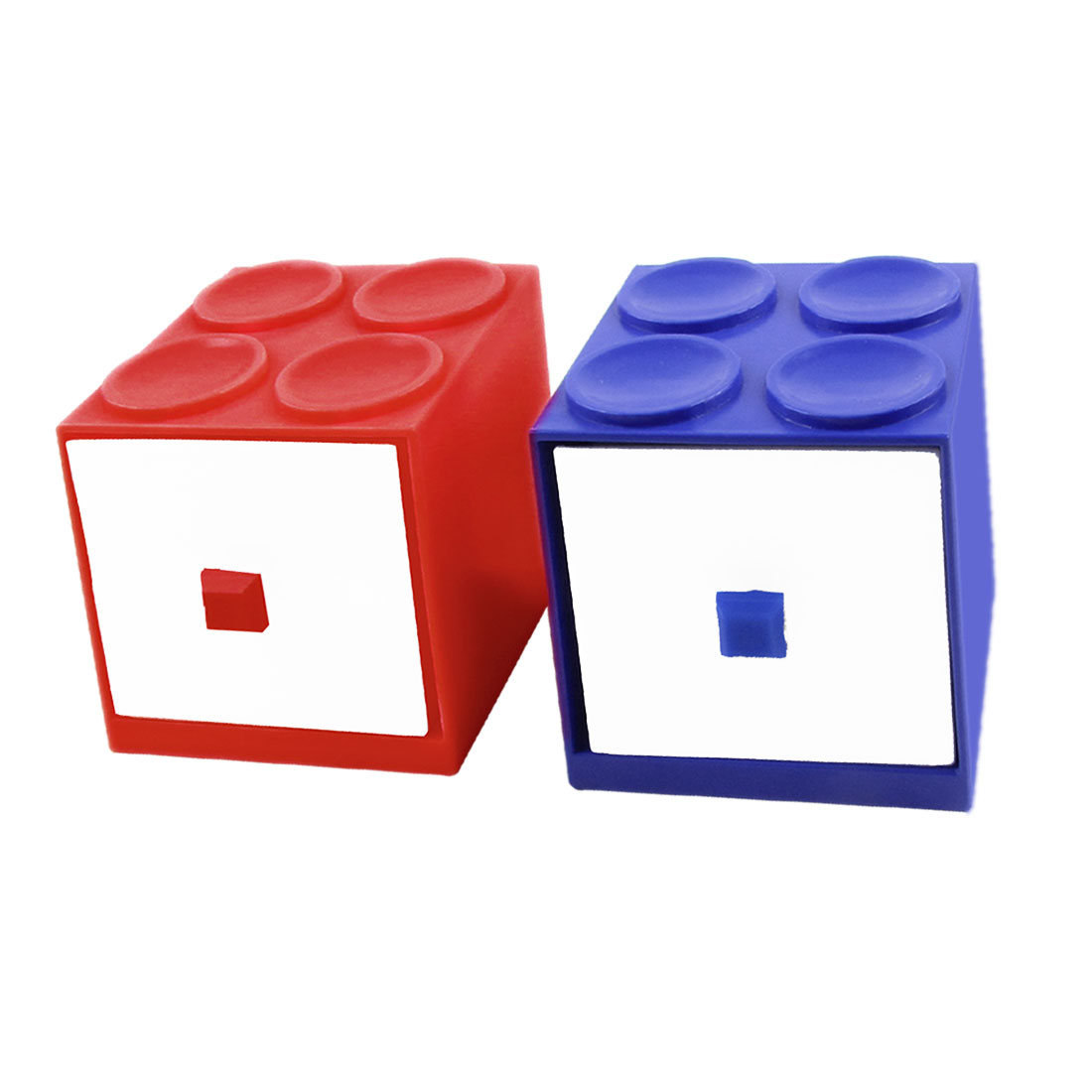 Building Block Design 2 Compartment Hairpin Storage Case Box Holder Blue Red