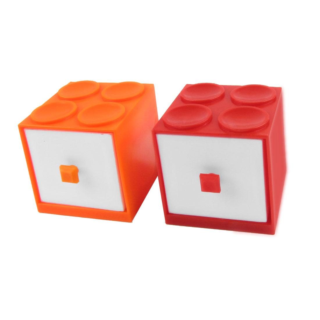 Orange Red Building Block Design 2 Layer Drawer Kits Storage Case Box Holder
