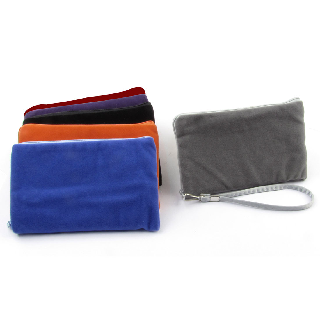 6 Pcs Women Zipper Closure One Pocket Assorted Color Wallet Purse w Hand Strap