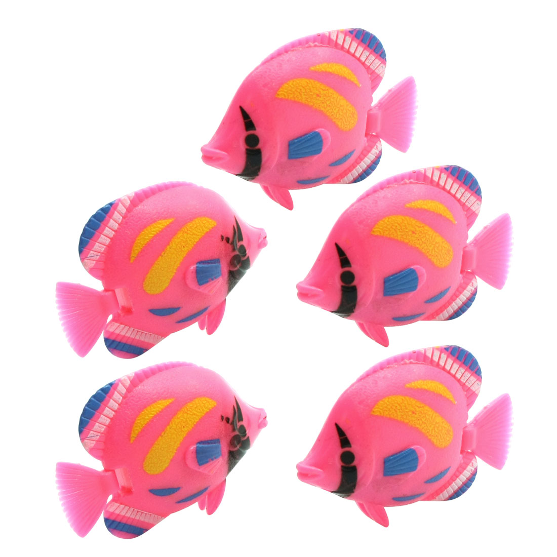 Fish Tank Artificial Swing Tail Plastic Fishes Pink 5 Pcs