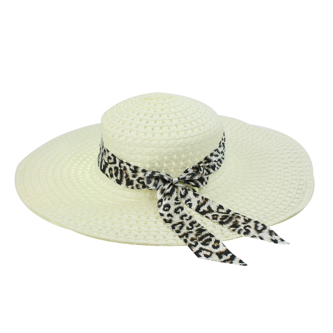 Ladies Women Leopard Pattern Bowknot Accent Strap Straw Braided Hat Beige