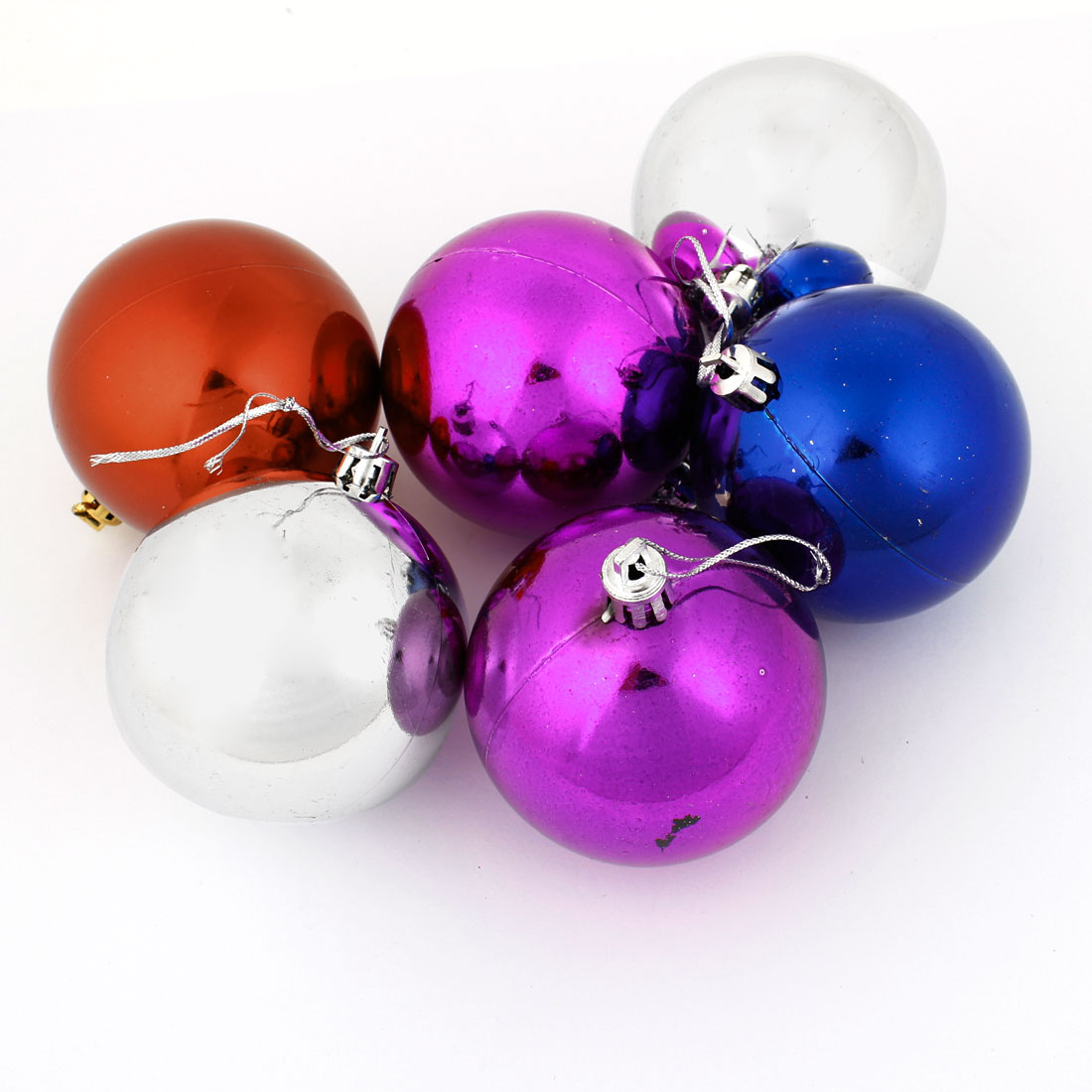 Christmas Tree 7cm Diameter Four Colors Pendant Hanger Balls Decoration 6 Pcs