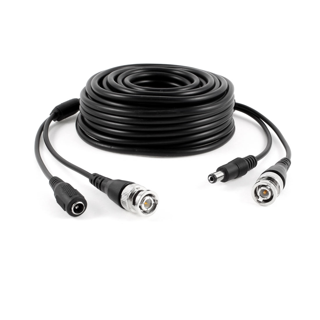 BNC Male DC Power Jack M/F CCTV Camera Video Power Extension Cable Black 10M
