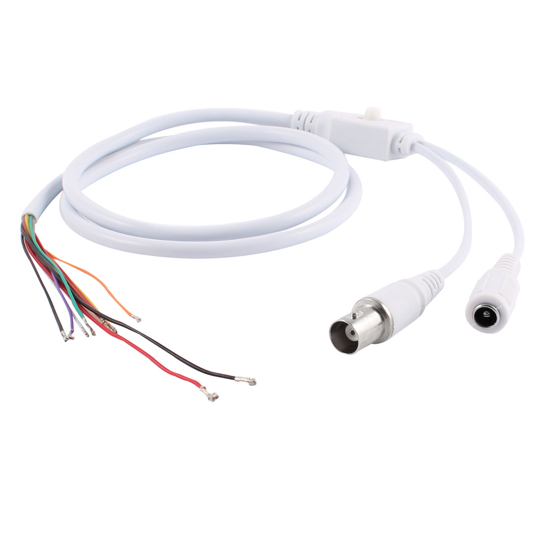 BNC Female Video Out 5.5x2.1mm DC Jack Power Input OSD Menu Control Cable White
