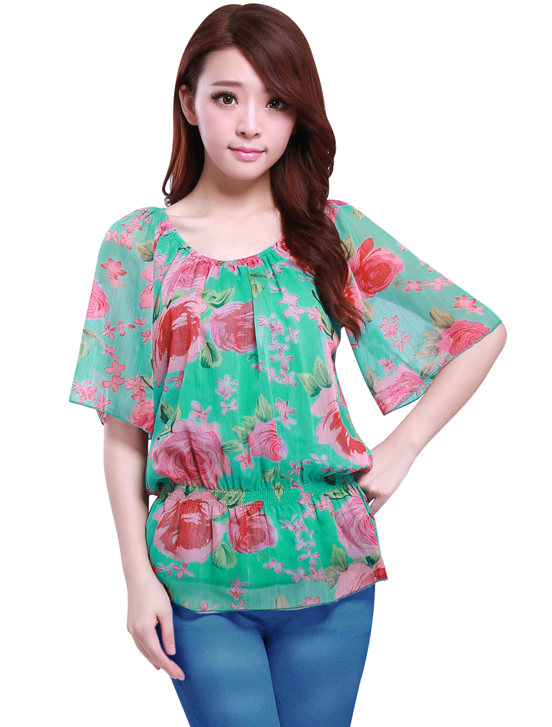 Woman Elastic Scoop Neck Short Sleeve Floral Pattern Pink Green Blouse S