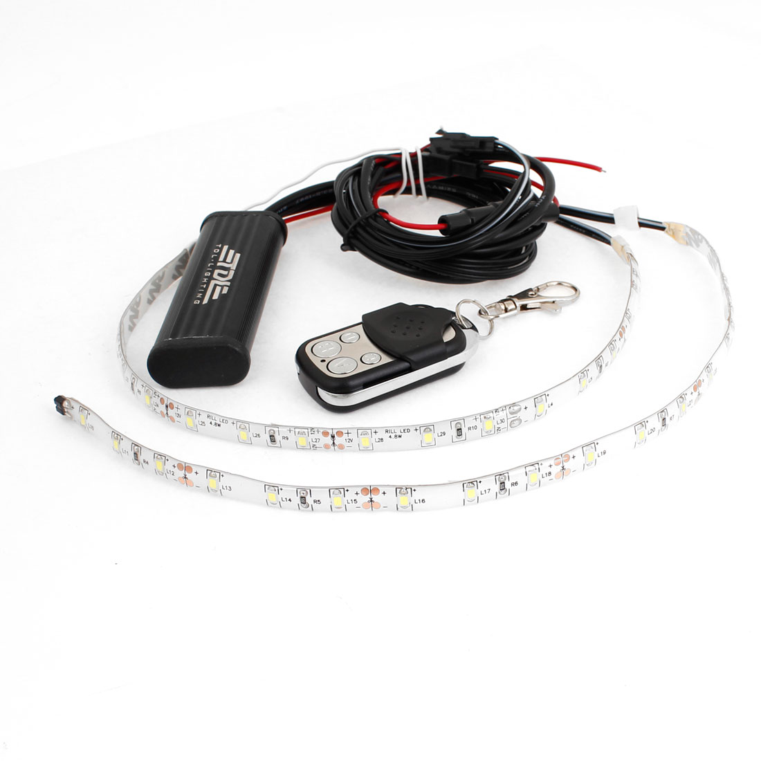 White 18 LED Bulb Flash Lights Controller w Remote Control for Car