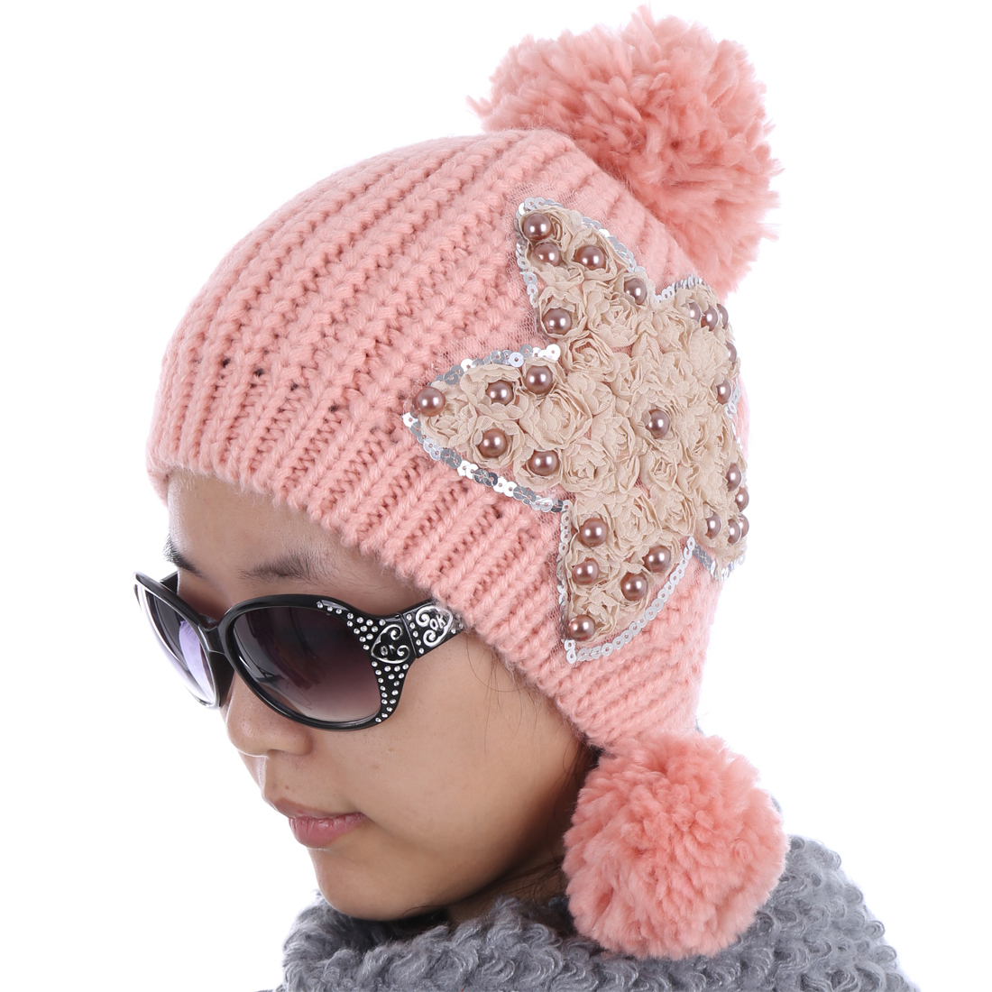 Women Star Pattern Ribbed Kintting NEWS Hat Pink