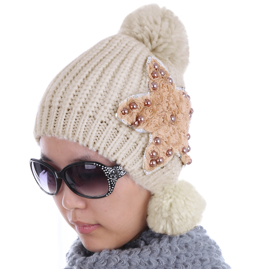 Women Flower Embellished Warm Lovely Wool Hat Khaki