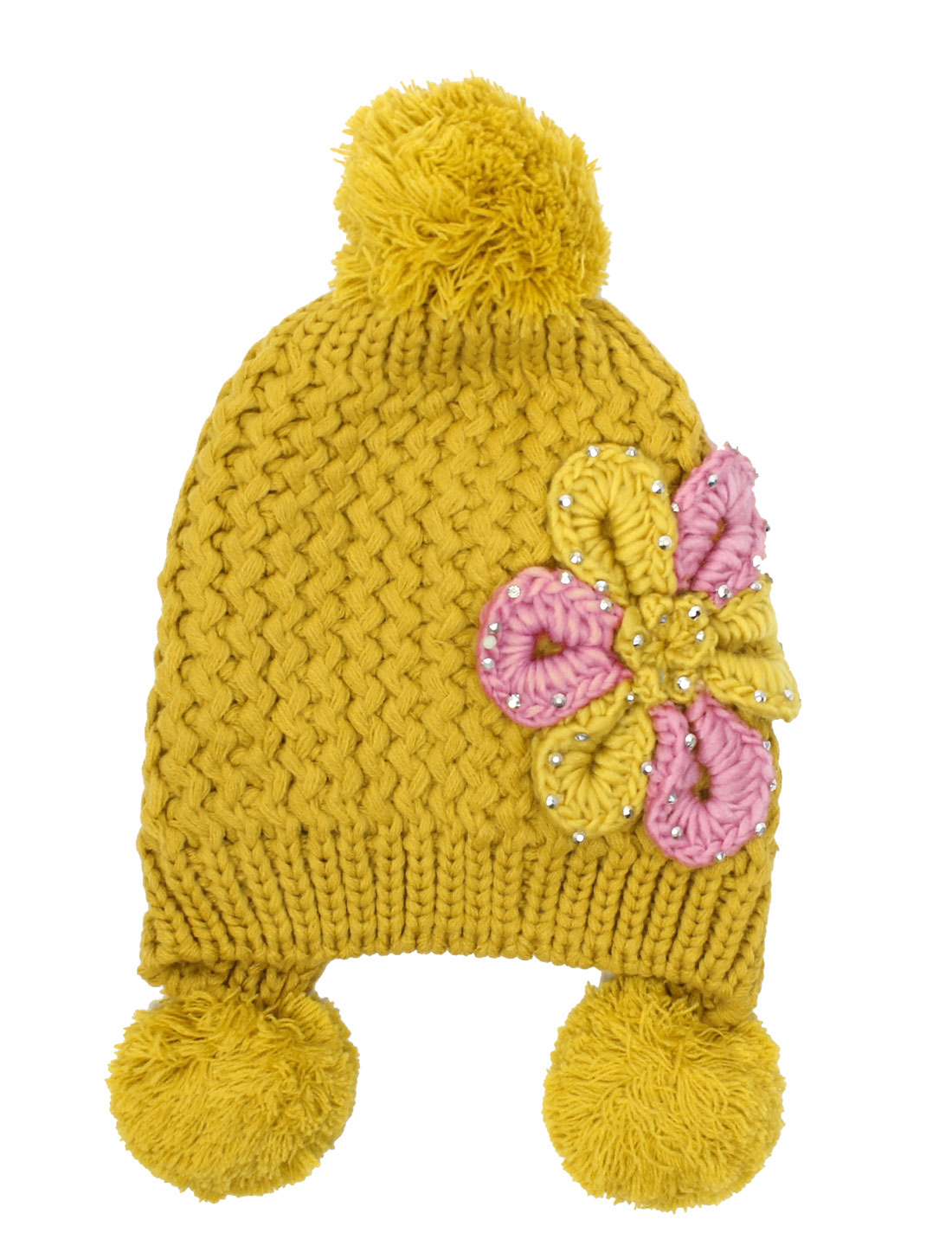 Woman NEW Studded Flower Embellished Yellow Winter Cable-Knitted Hat
