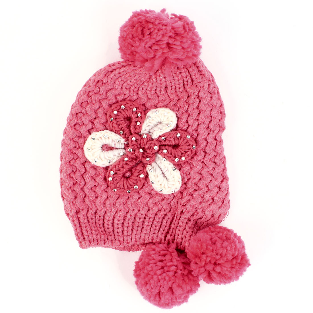 Woman Chic 3 Pom-Pom Design Red Thick Winter Knitted Cap Hat