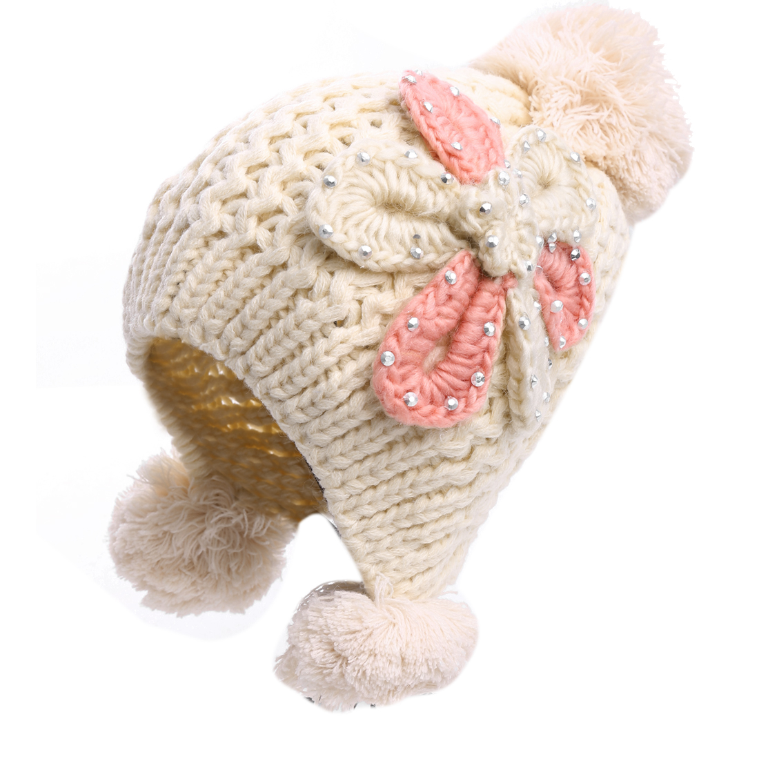 Women Beige Color Chic Studded Flower Decor Beanie Knitted Hat