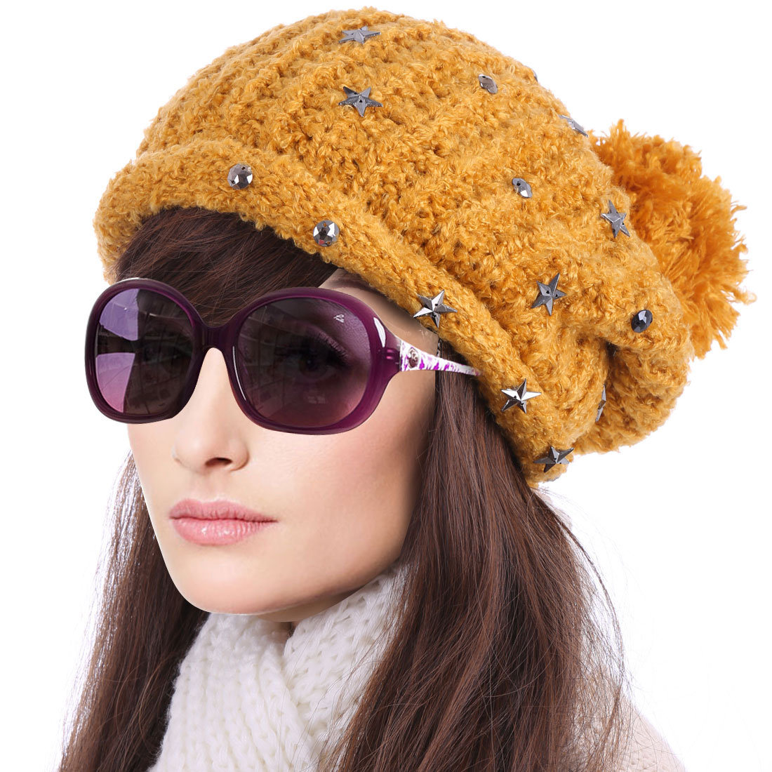 Women's Panel Stars Decor Cute Pom Pom Warm Knitted Beanie Yellow