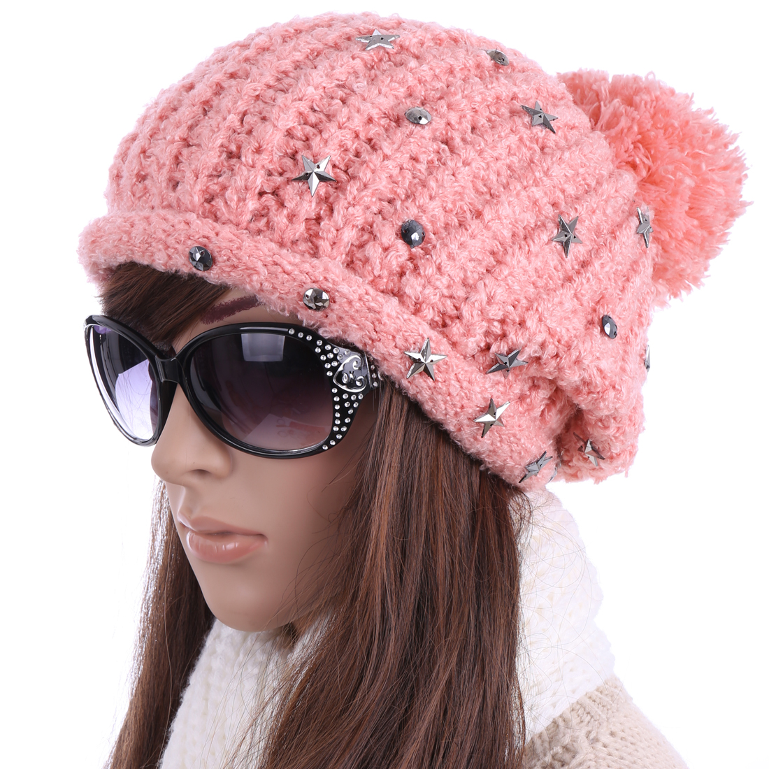 Women's Stars Decor Lovely Pom Pom Elastic Pink Knitted Beanie Hat