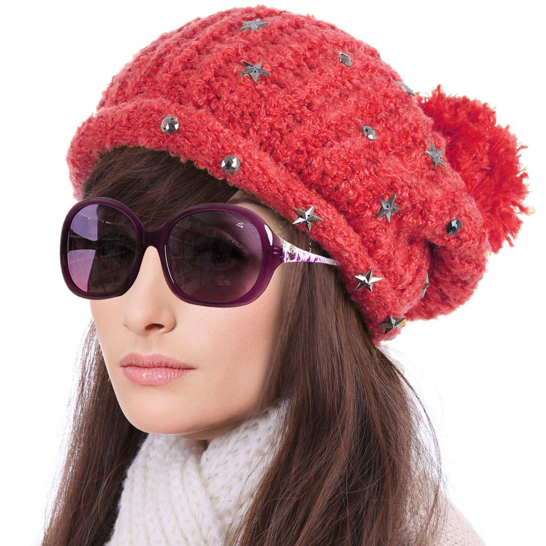 Women's Lovely Pom Pom Stars Decor Warm Winter Red Knitted Beanie Hat