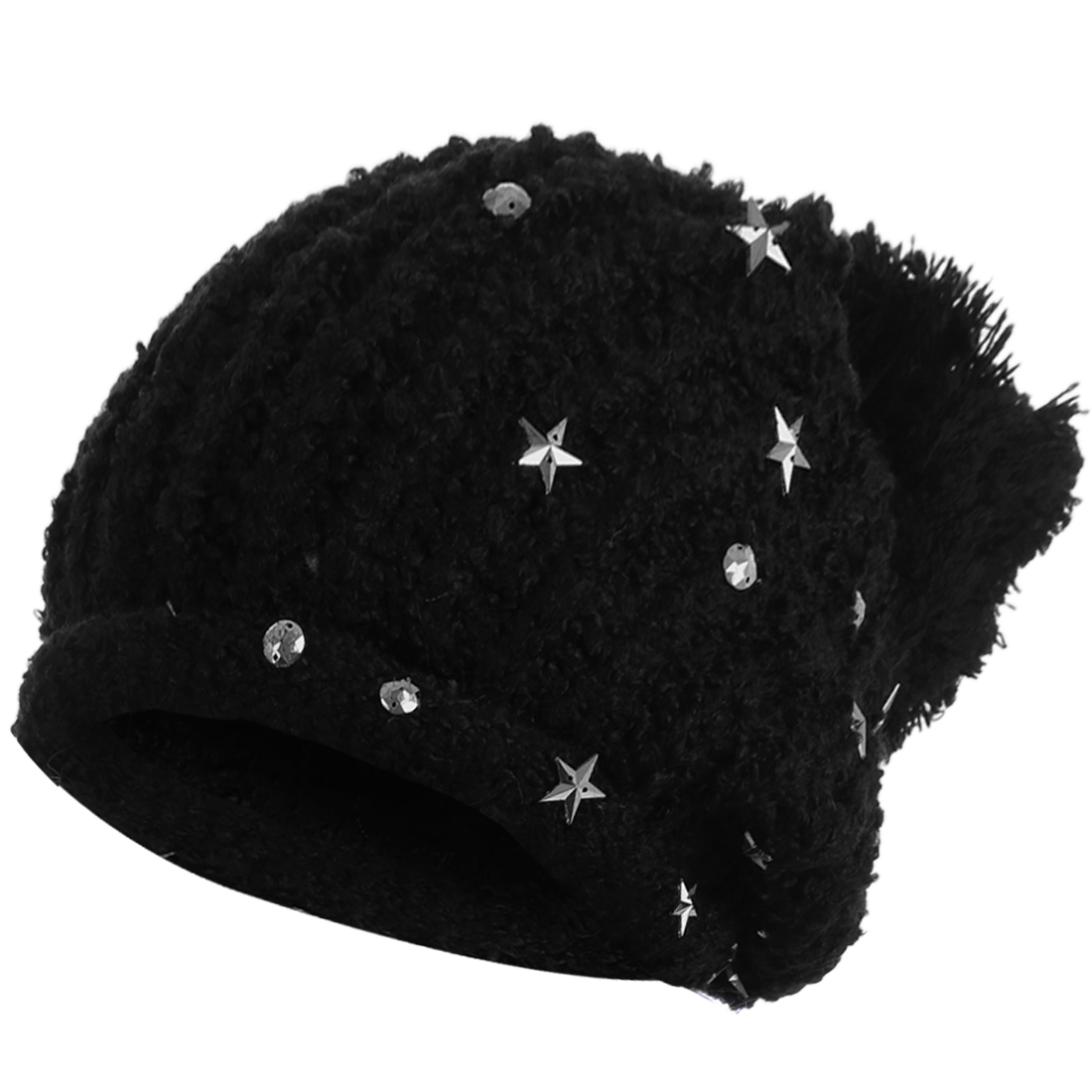 Women's Winter Lovely Pom Pom Stretchy Stars Decor Black Knitted Beanie