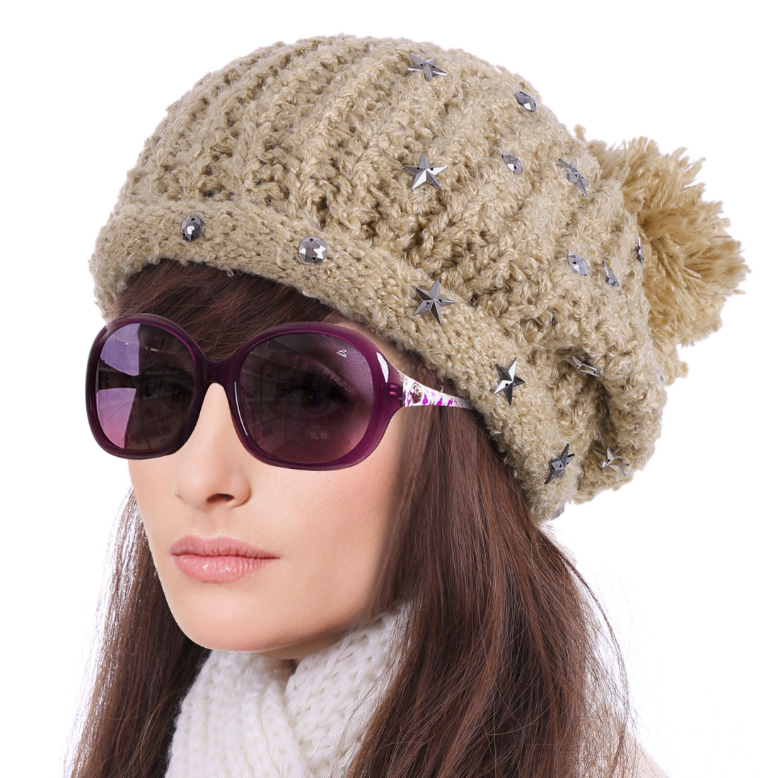 Women's Lovely Pom Pom Stars Decor Panel Knitted Khaki Beanie Khaki