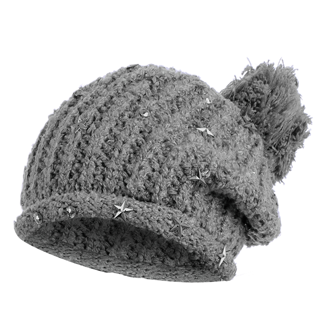 Women's Pom Pom Stars Decor Elastic Dark Gray Knitted Beanie